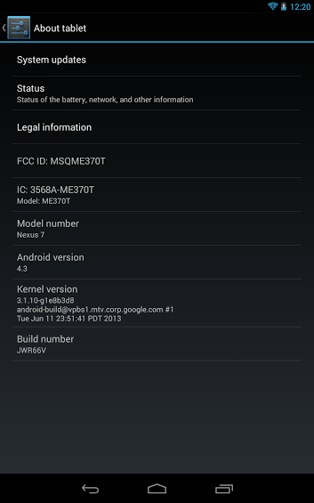 Nexus 7 Running on 4.3