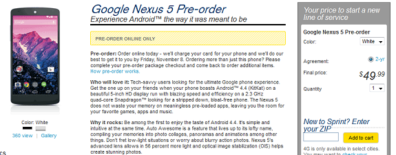 sprint google nexus 5 pre order is live 50 for 16 gb model androidpure. Black Bedroom Furniture Sets. Home Design Ideas