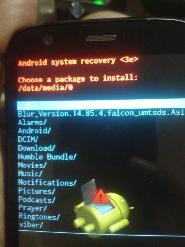 Moto G Dual SIM Recovery Mode - Install Zip