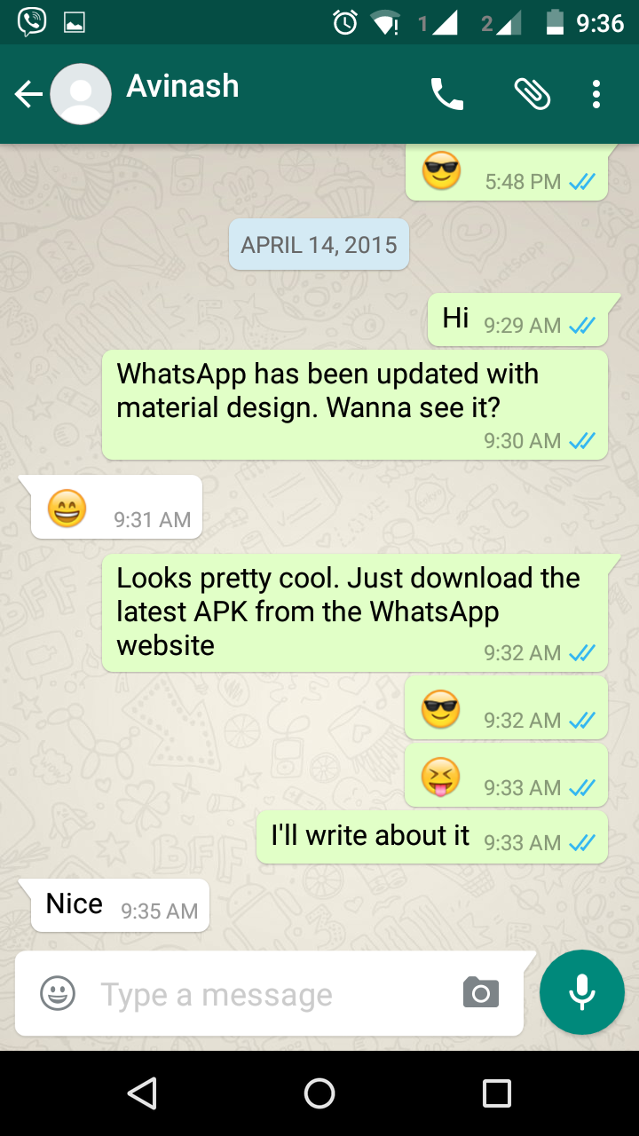Whatsapp Messenger Update Brings Material Design