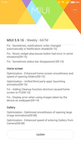 MIUI 7 Global Beta ROM 5.9.16 update change log