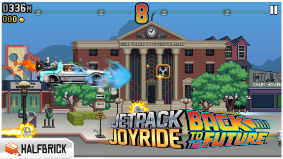 jetpack joyride back to the future delorean time machine
