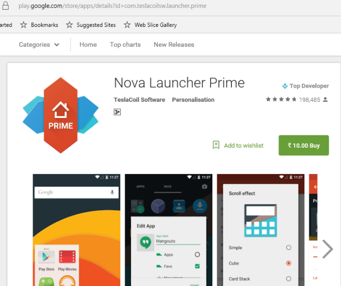 Nova Launcher Prime sale 2016 10 rupees