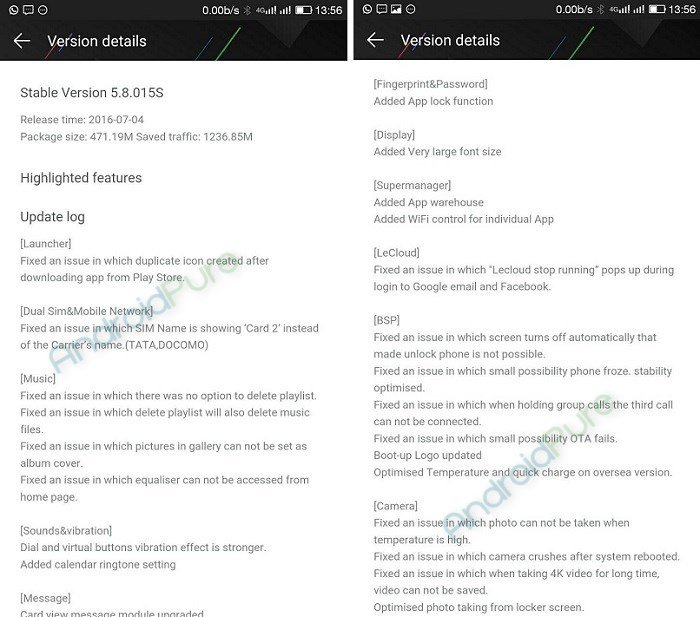 Le 2 eui 5.8 OTA update Changelog - LeEco Le 2 getting EUI 5.8 OTA update: fixes camera, adds App lock using fingerprint