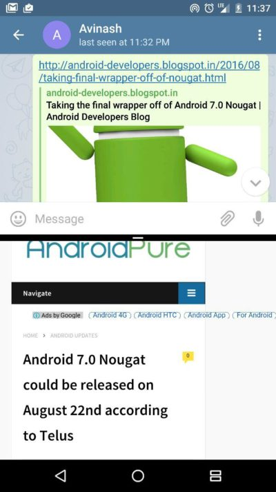 Android Nougat Multiwindow