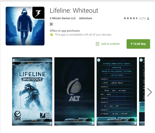 Lifeline Whiteout Android Sale - Home