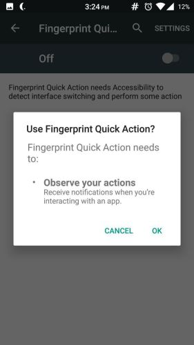 Fingerprint Quick Action 5 - Home