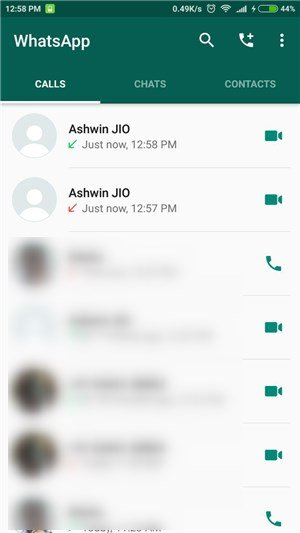 WhatsApp video call Android 2 - Home