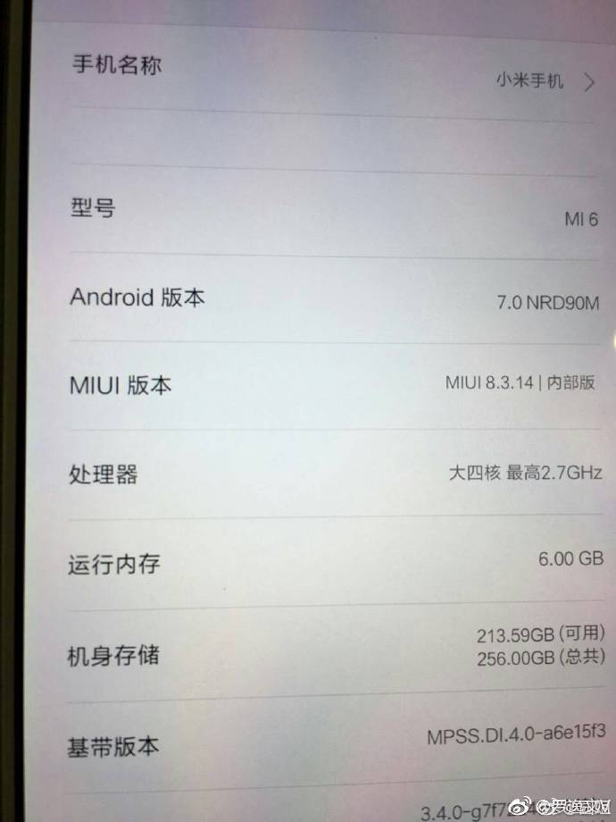 Xiaomi Mi 6 About Phone Specs - AndroidPure