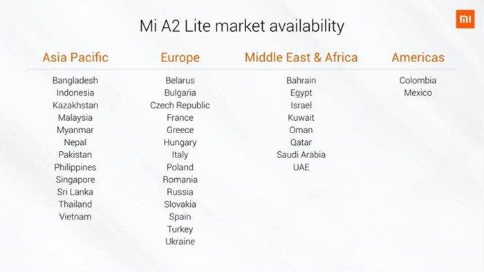 Mi A2 Lite Availability
