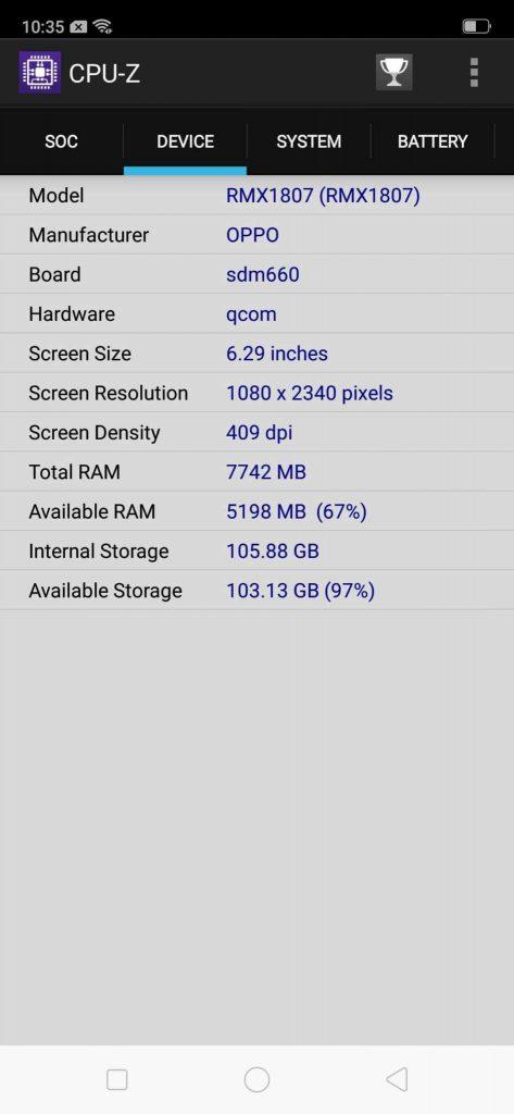 Realme 2 Pro benchmark CPU-Z