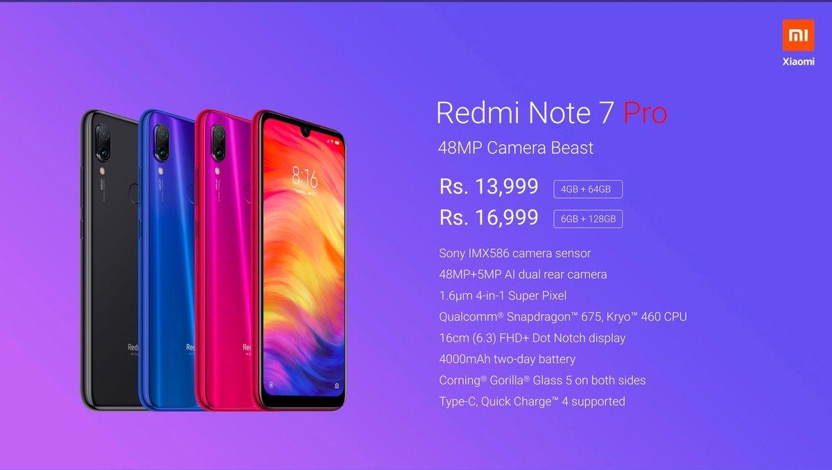 073d9b19e Redmi Note 7 Pro Price In India And Tech Specs