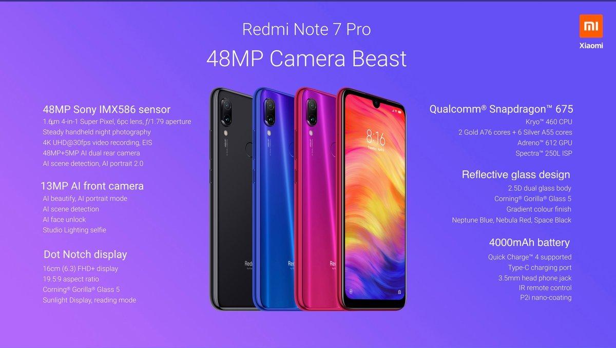 Redmi Note 7 Pro tech specs