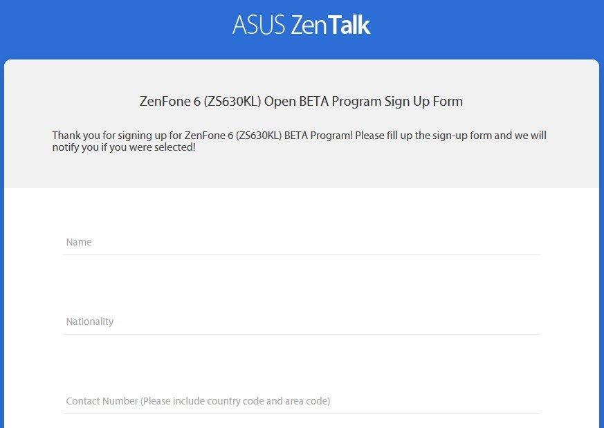 ASUS ZenFone 6 Android Q Beta program application