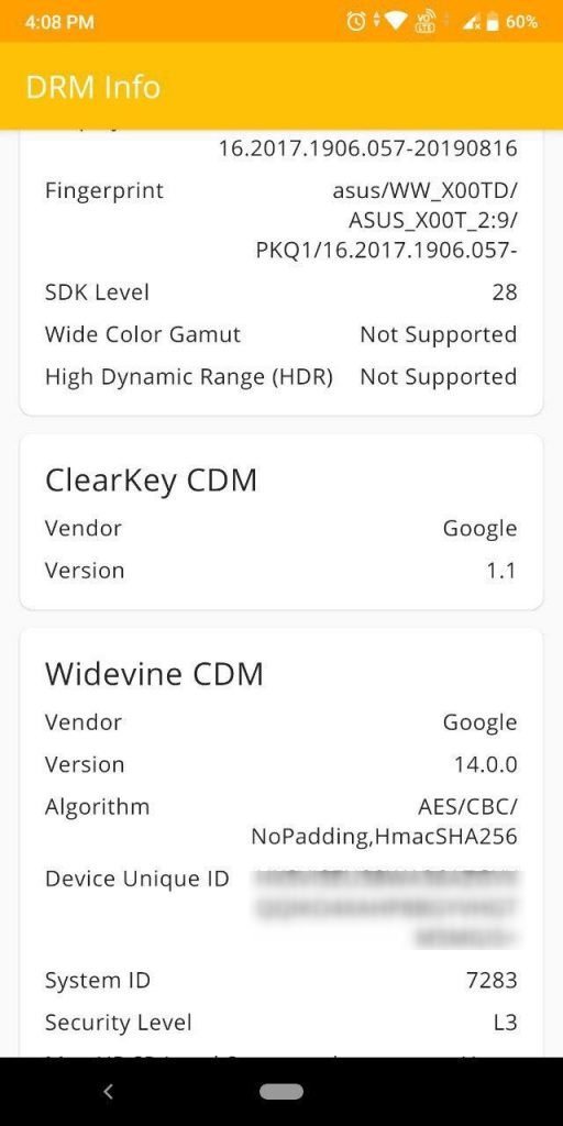 Zenfone Max Pro M1 Widevine level downgraded