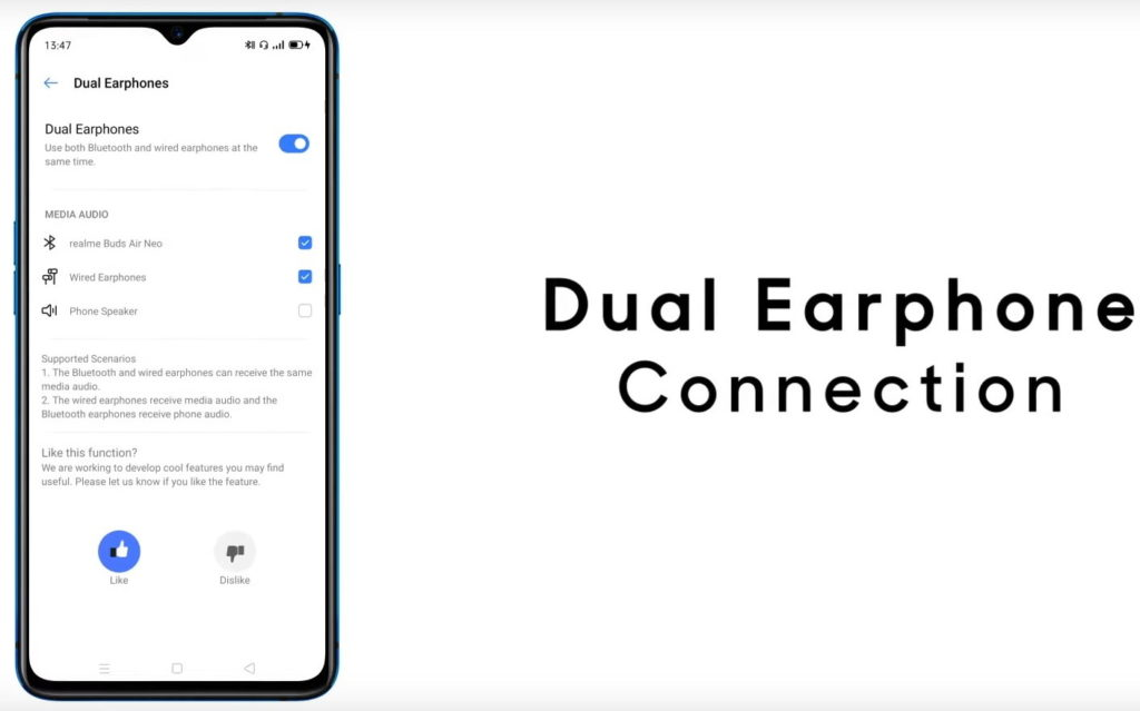 Realme Ui features Dual Headphones Connection