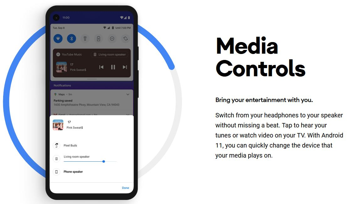Android 11 media controls